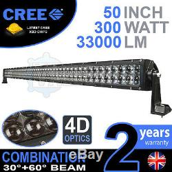 4D 52 300w Cree LED Light Bar Combo IP68 Driving Light Alloy Off Road 4WD Boat