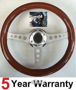 Wood Wooden Steering Wheel And Snap Off Boss Kit 36 Spline Land Rover Defender
