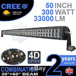 4d 52 300w Led Cree Light Bar Combo Ip68 Conduite En Alliage Léger Hors Route 4wd Bateau
