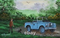 Mal Burton Peinture À L'huile Originale Off Out Avec Le Chien Dans Le Land Rover